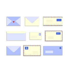 Snail mail letters envelopes flat style set vector image