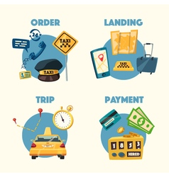 Taxi service Cartoon Trip and payment vector image vector image