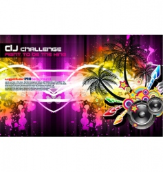 tropical disco party flyer vector image vector image