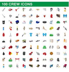 100 crew icons set cartoon style vector image vector image