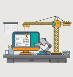 Building website with crane vector image vector image