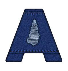jeans letter a denim alphabet vector image