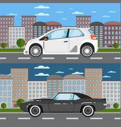 muscle car and universal car in urban landscape vector image