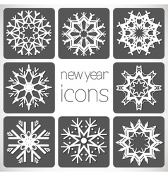 New Year Monochrome Icons Set with snowflakes vector image