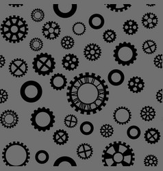 pattern with black gears on a dark gray background vector image