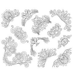 vintage style design elements corners set vector image
