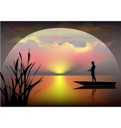 fisherman on the boat vector image vector image