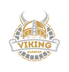 Viking isolated label with horned helmet vector