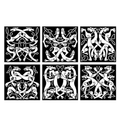 Wolves or dogs patterns with celtic ornament vector image