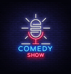 Comedy show stand up invitation is a neon sign vector