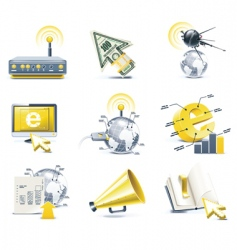 communication icon set internet vector image vector image