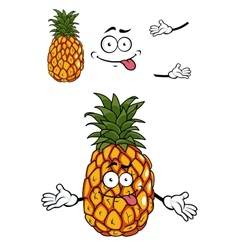 Happy cartoon tropical pineapple vector