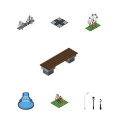 isometric city set of bridge seesaw garden decor vector image