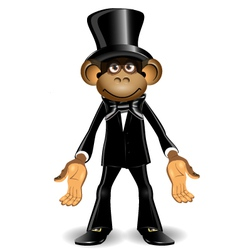 Monkey in a top hat vector image vector image