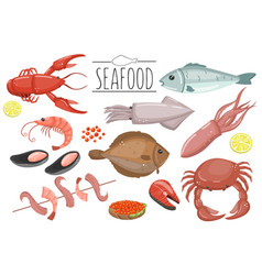 seafood set fish products for the fish market or vector image