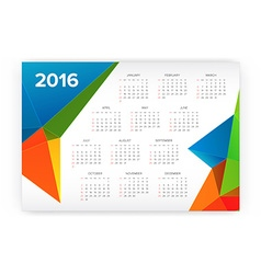 2016 Calendar Abstract Week Starts from Sunday vector image