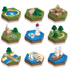 a set elements medieval landscape vector image