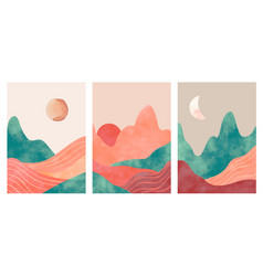 Abstract mountains aesthetic minimalist landscape vector