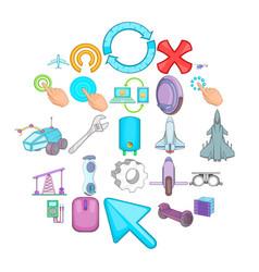Advanced technologies icons set cartoon style vector