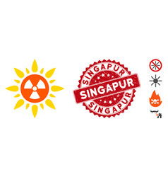Atomic radiation icon with scratched singapur seal vector
