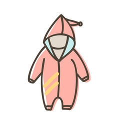 Baby overall romper with hood for a newborn vector