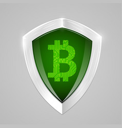 Bitcoin shield concept cryptography currency sign vector
