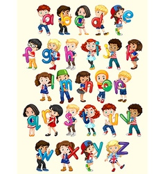 Boys and girls with English alphabet vector image