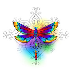 Bright polygonal dragonfly vector