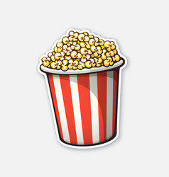 Bucket full popcorn red and white striped vector