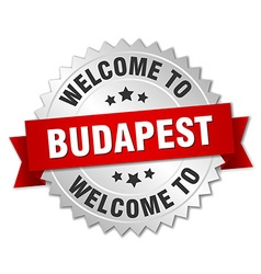 Budapest 3d silver badge with red ribbon vector