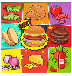 Burger comic book page vector