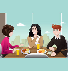 business people eating together vector image