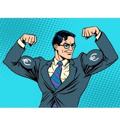 Businessman with muscles currency euro vector
