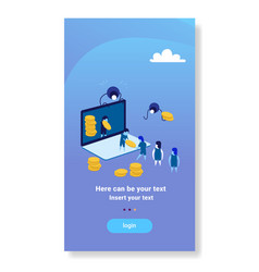 Businesspeople carrying money online application vector