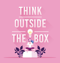 Businesswoman think outside box concept vector