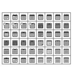 calendar icon set flat signs vector image