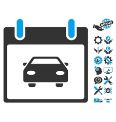 Car Calendar Day Icon With Bonus vector