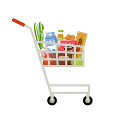 cart with products supermarket vector image