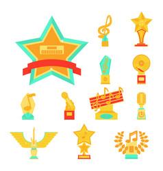 Cartoon music award statuette entertainment winner vector