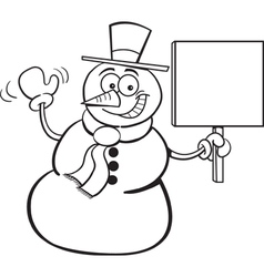 Cartoon Snowman Holding a Sign vector image