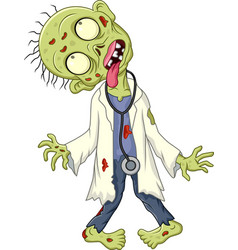 cartoon zombie doctor on white background vector image