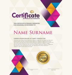 Certificate template with texture modern pattern vector