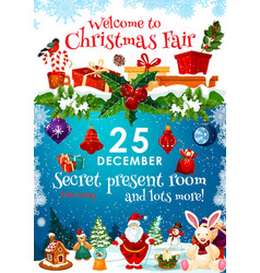 christmas fair invitation with presents on snow vector image