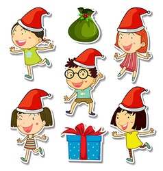 Christmas theme set with kids and presents vector