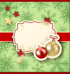 christmas with label and baubles vector image