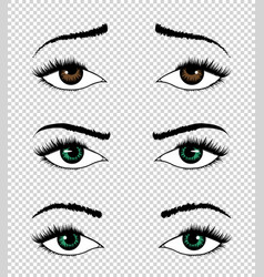 collection eyes hand drawn female vector image