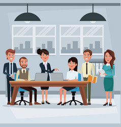 Colorful background workplace office with teamwork vector