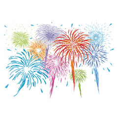 Colorful fireworks isolated on white background vector