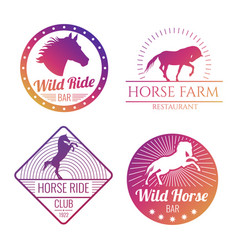 colorful horse and mare emblems isolated on white vector image