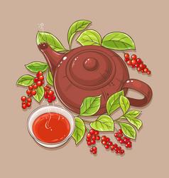 Cup of schisandra tea and teapot vector